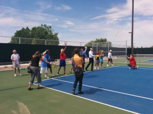 The inaugural pickleball serve with Mayor Berry