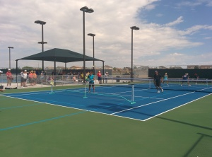Demonstration game on the new pickleball courts