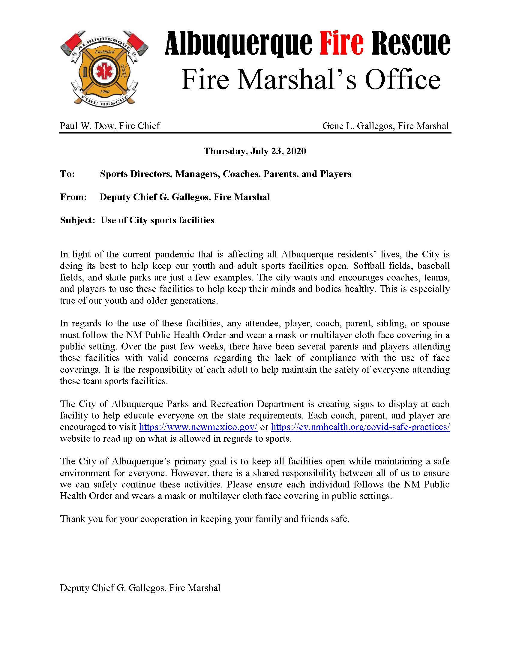Fire Marshall Letter - MASKS